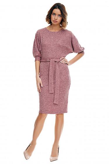 Платье розовое меланжевое с карманами Деловая женская одежда фото