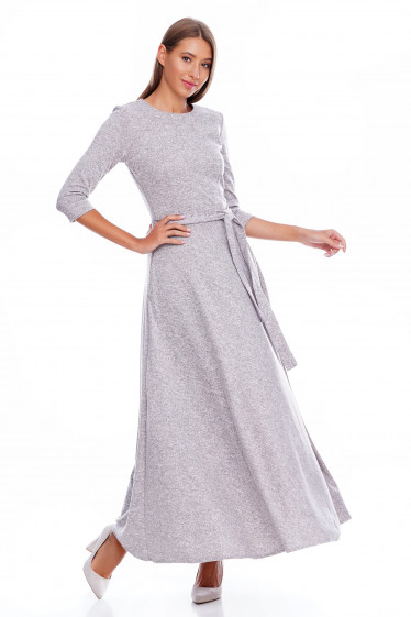 Платье теплое серое Деловая женская одежда фото