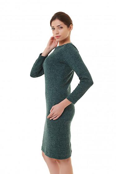 Купить платье зеленое трикотажное меланжевое Деловая женская одежда фото