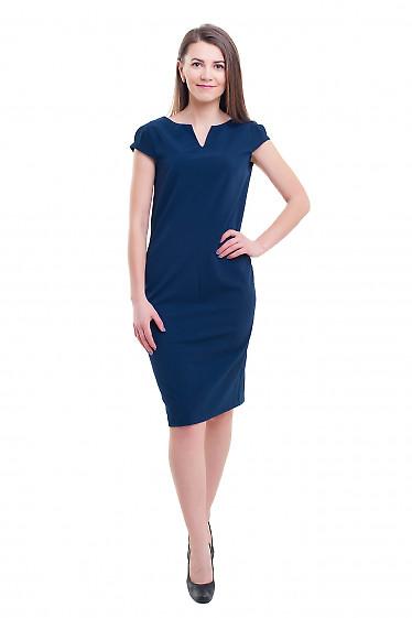 Купить синее платье с разрезом на горловине Деловая женская одежда фото