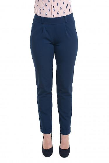 Синие брюки женские на резинке. Деловая женская одежда фото
