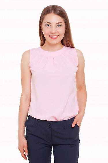 Топ с защипами бледно-розовый Деловая женская одежда фото