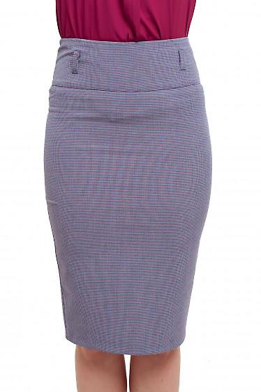 Юбка-карандаш в сине-красную лапку Деловая женская одежда фото