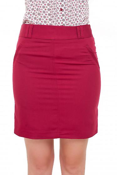 Юбка короткая бордовая Деловая женская одежда фото