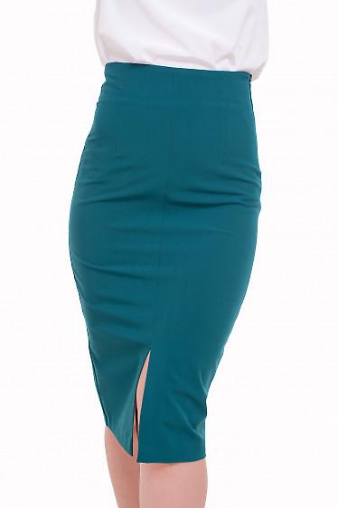 Юбка с разрезом по переду зеленая Деловая женская одежда фото