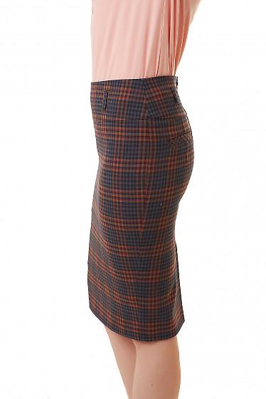 Купить юбку теплую в красно-синюю полосу Деловая женская одежда фото