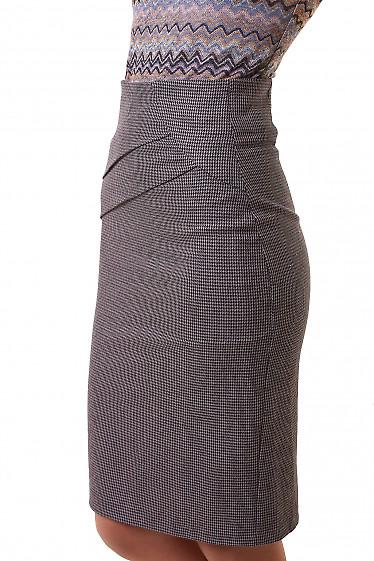Купить юбку в серую лапку со складками на поясе Деловая женская одежда фото