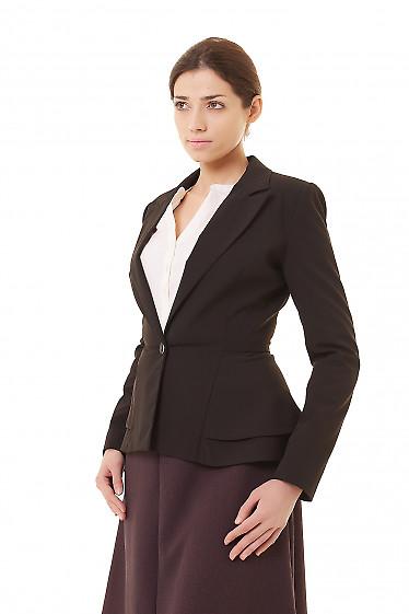 Купить жакет чёрный женский с баской Деловая женская одежда фото