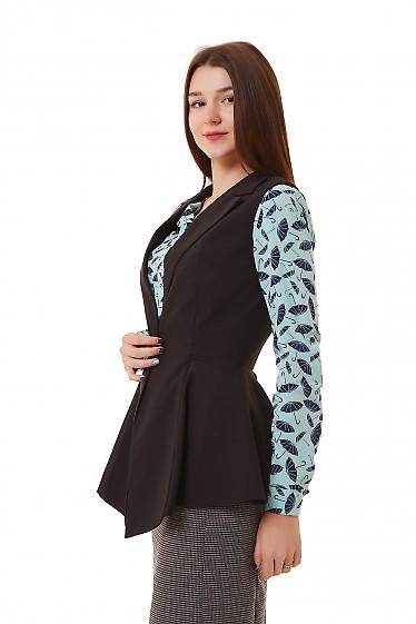 Купить жилет удлиненный черный с баской Деловая женская одежда фото