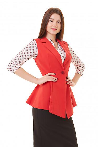 Купить жилет удлинённый с баской красный Деловая женская одежда фото