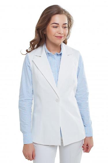 Жилетка удлиненная белая Деловая женская одежда фото