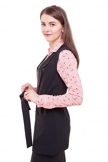 Жилетка длинная черная Деловая женская одежда фото