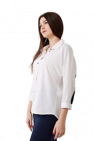 Купить блузку белую с синей полосой Деловая женская одежда фото