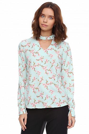 Блузка бирюзовая со стойкой на пуговичке. Деловая женская одежда фото
