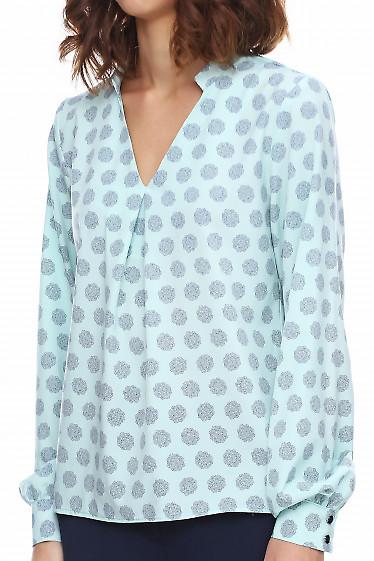 Купить бирюзовую блузку в цветы. Деловая женская одежда фото
