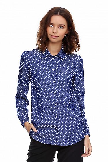 Блузка джинсовая в горошек. Деловая женская одежда фото
