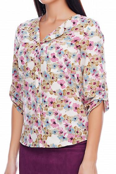 Блузка в цветы Деловая женская одежда фото