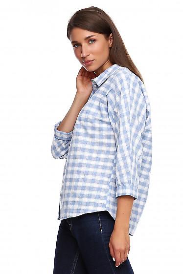 Купить блузку в голубую клетку. Деловая женская одежда фото