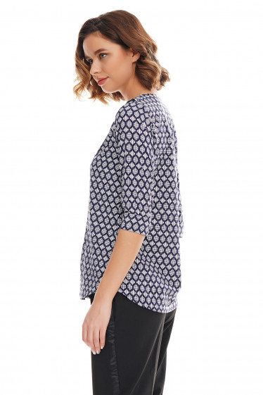 Купить блузку синюю с двойным воротником Деловая женская одежда фото