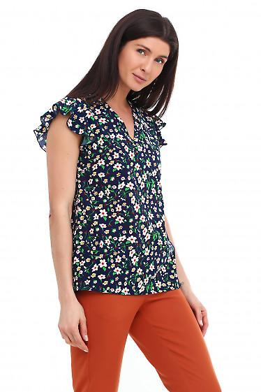 Купить блузку синюю с мысиком Деловая женская одежда фото