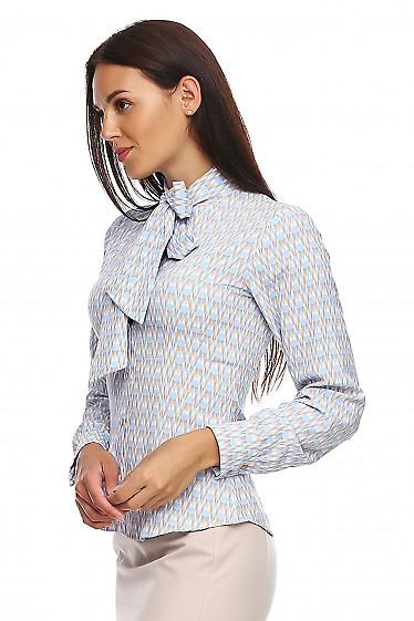 Купить блузку в голубой узор. Деловая женская одежда фото