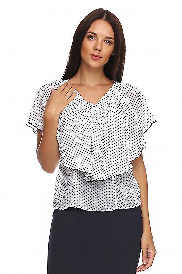 Блузка в черный горох с пелериной из шифона. Деловая женская одежда фото