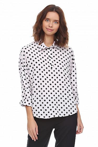 Блузка в горошек со спущенными рукавом. Деловая женская одежда фото
