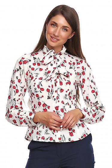 Блузка в розочки с широким бантом Деловая женская одежда фото