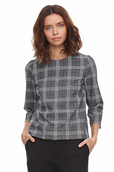 Купить блузку в серую клетку. Деловая женская одежда фото