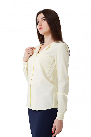 Купить блузку желтую с карманами на груди. Деловая женская одежда фото