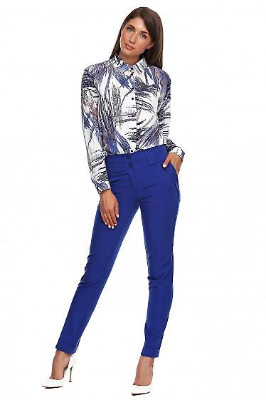 Купить брюки электрик с манжетой. Деловая женская одежда фото