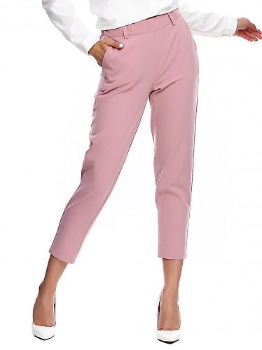 Брюки розовые на резинке короткие. Деловая женская одежда