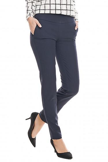 Купить брюки синие классические с широким поясом Деловая женская одежда фото