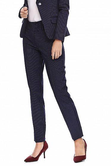 Купить женские брюки синие в полоску. Деловая женская одежда фото