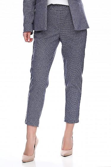 Купить брюки тёплые в синюю точку на резинке. Деловая женская одежда фото