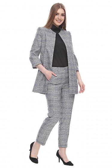 Брюки в мелкую черно-белую клеточку Деловая женская одежда фото