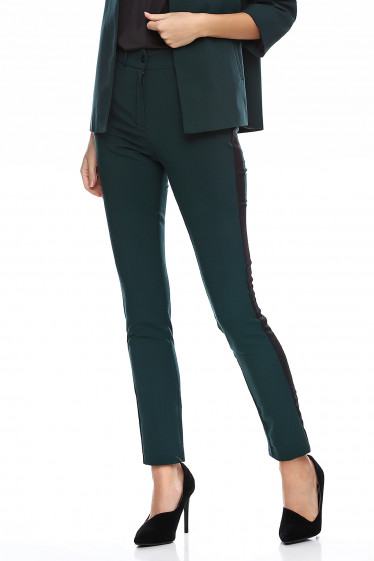 Купить брюки зеленые с чёрными лампасами. Деловая женская одежда фото