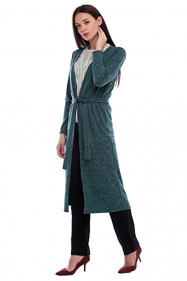 Купить длинный кардиган из зеленого трикотажа. Деловая женская одежда фото