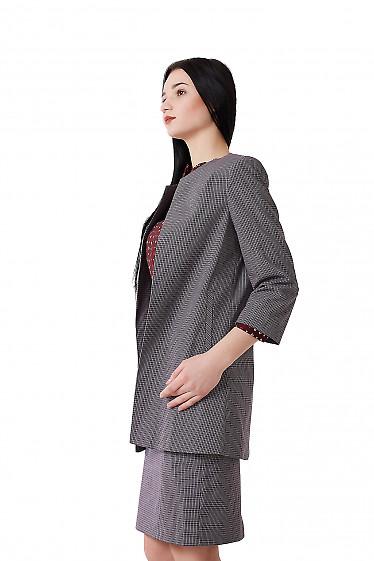 Купить кардиган удлиненный в красно-синюю клетку Деловая женская одежда фото