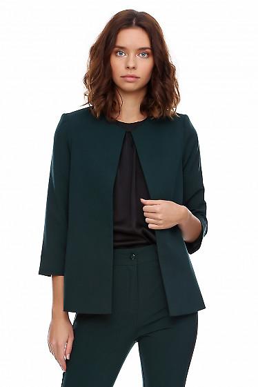 Кардиган зелёный короткий. Деловая женская одежда фото