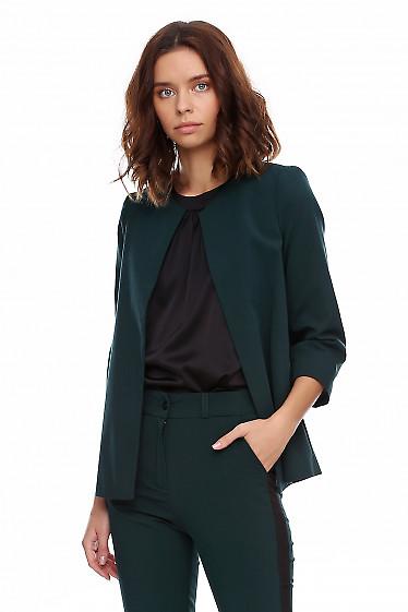 Купить кардиган зелёный короткий. Деловая женская одежда фото