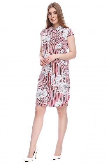 Платье-рубашка в красную полоску Деловая женская одежда фото