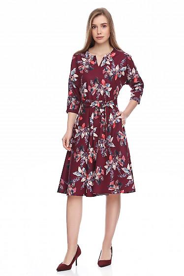 Купить платье бордовое в листья. Деловая женская одежда фото