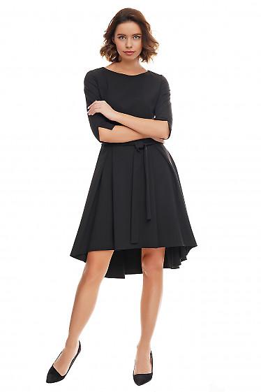 Купить платье чёрное с несимметричной юбкой. Деловая женская одежда фото
