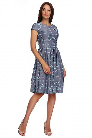 Купить платье джинсовое с защипами. Деловая женская одежда фото