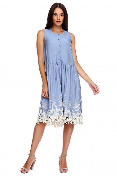 Платье голубое с купоном. Деловая женская одежда фото