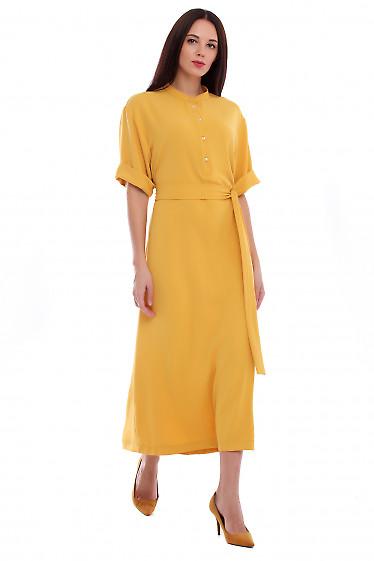 Купить платье терракотовое со стойкой. Деловая женская одежда фото
