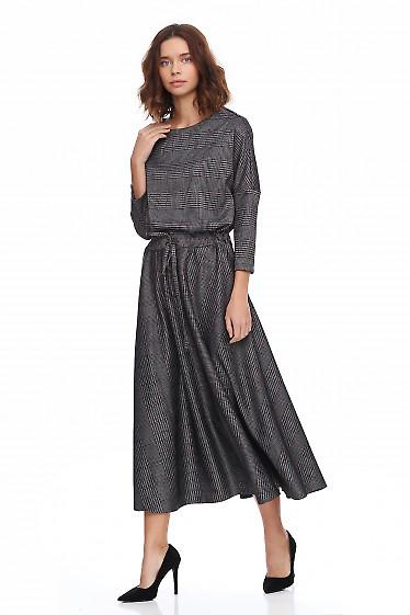 Купить платье миди в серую клетку. Деловая женская одежда фото