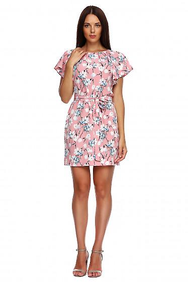 Платье розовое в тюльпаны с крылышками. Деловая женская одежда фото