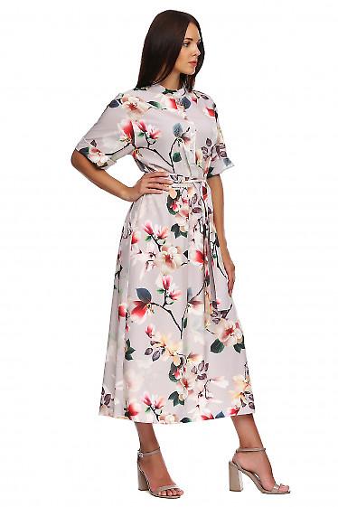 Купить платье серое в цветы со стойкой. Деловая женская одежда фото